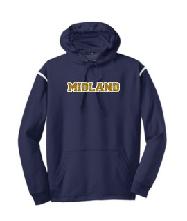 Sport-Tek Navy Tech Fleece Colorblock Hooded Sweatshirt Glitter Midland Gold Inside with White Outline