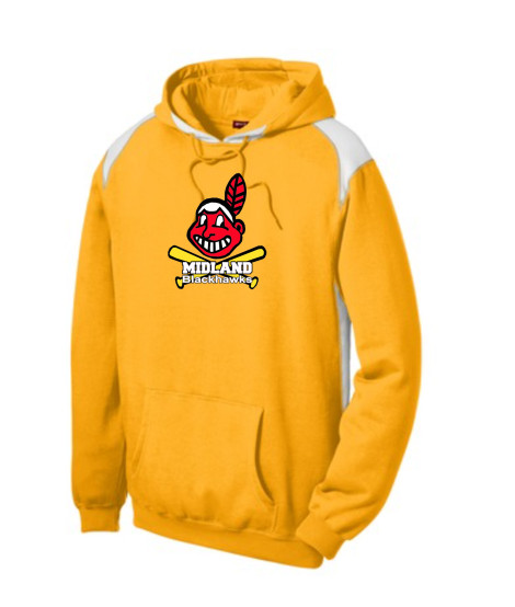 Sport-Tek Gold Pullover Hooded Sweatshirt with Contrast Color Giant Blackhawk