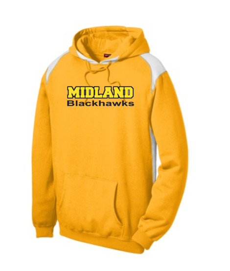 Sport-Tek Gold Pullover Hooded Sweatshirt with Contrast Color Midland Blackhawks Navy Outline Gold Inside