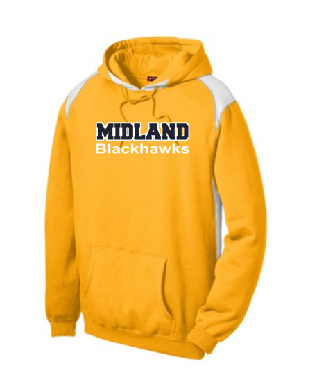 Sport-Tek Gold Pullover Hooded Sweatshirt with Contrast Color Midland Blackhawks White Outline Navy Inside