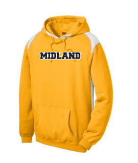 Sport-Tek Gold Pullover Hooded Sweatshirt with Contrast Color Midland White Outline Navy Inside