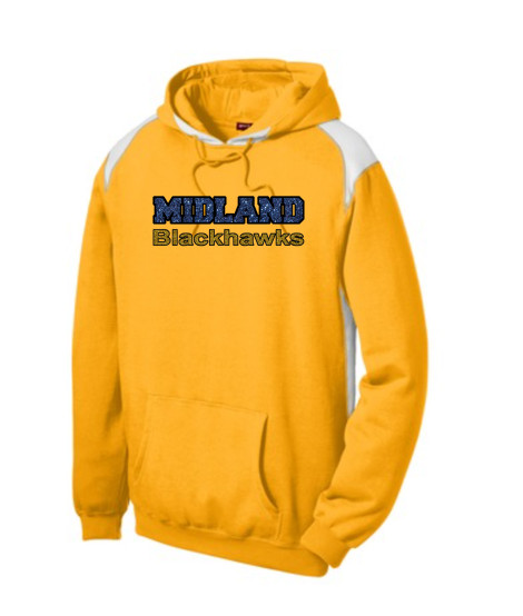 Sport-Tek Gold Pullover Hooded Sweatshirt with Contrast Color Glitter Midland Blackhawks Gold and Navy with Black Outline