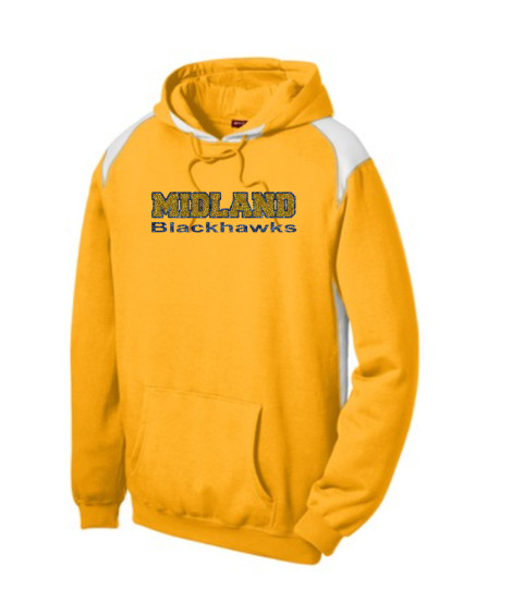 Sport-Tek Gold Pullover Hooded Sweatshirt with Contrast Color Glitter Midland Blackhawks Navy Outline Gold Inside