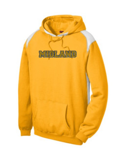 Sport-Tek Gold Pullover Hooded Sweatshirt with Contrast Color Glitter Midland Navy Outline Gold Inside