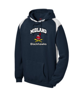 Sport-Tek Navy Pullover Hooded Sweatshirt with Contrast Color Curved Blackhawk with White Letters