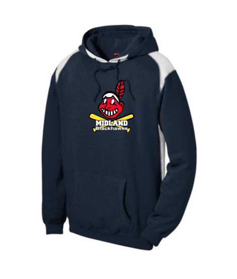 Sport-Tek Navy Pullover Hooded Sweatshirt with Contrast Color Giant Blackhawk