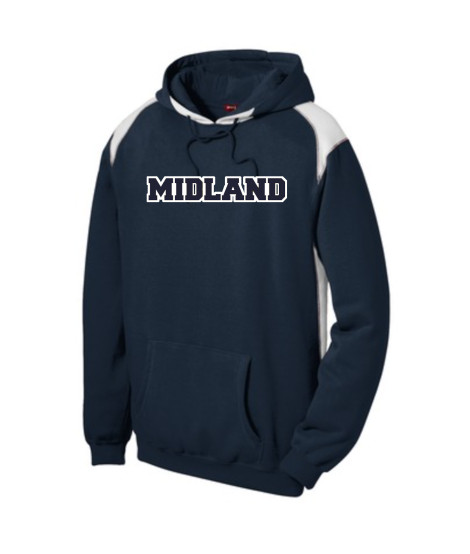 Sport-Tek Navy Pullover Hooded Sweatshirt with Contrast Color Midland Blackhawks White Outline Navy Inside
