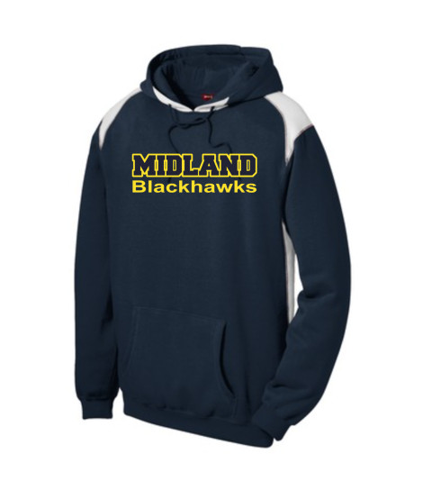 Sport-Tek Navy Pullover Hooded Sweatshirt with Contrast Color Midland Gold Outline Navy Inside