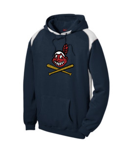 Sport-Tek Navy Pullover Hooded Sweatshirt with Contrast Color Glitter Blackhawk