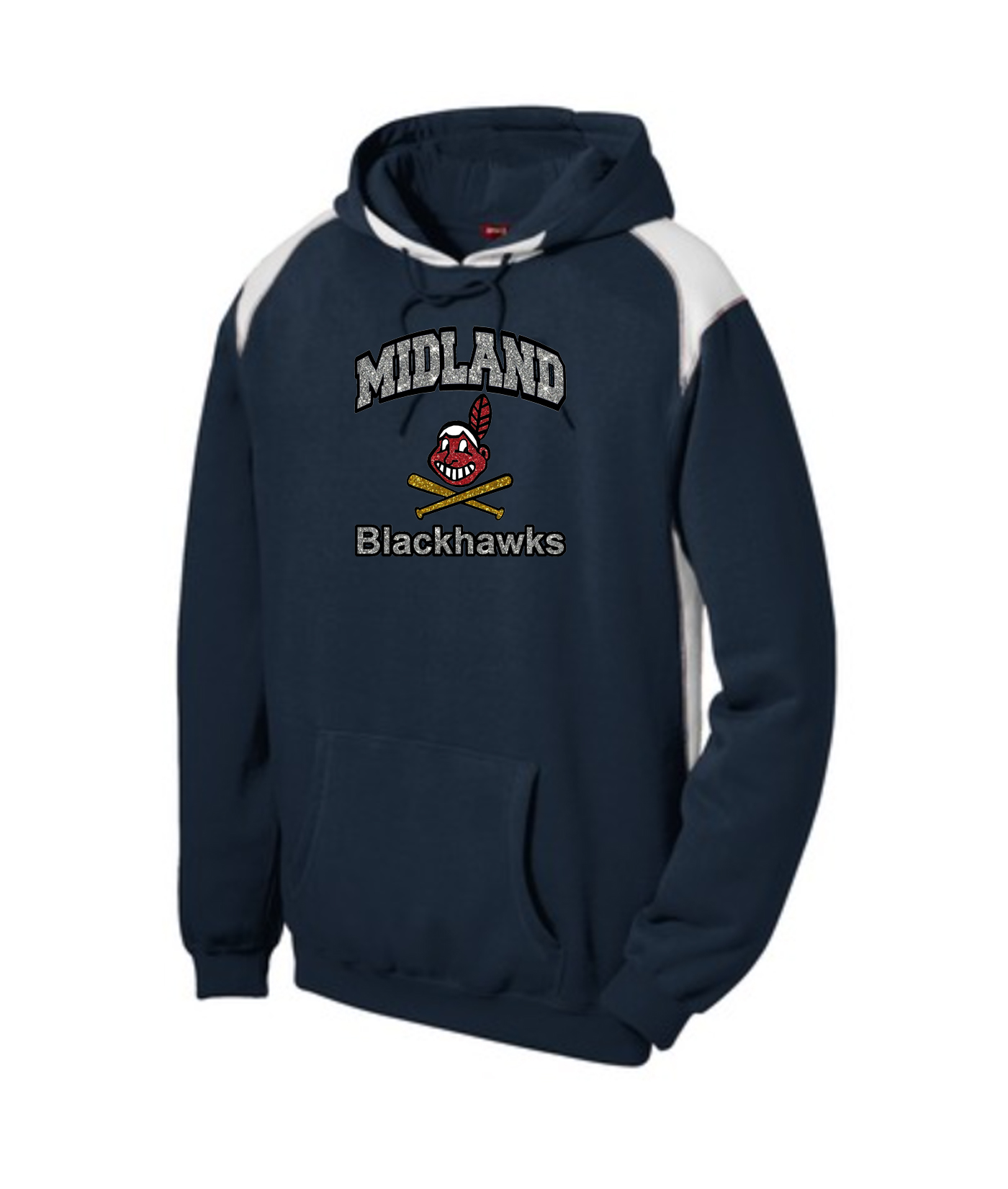 Sport-Tek Navy Pullover Hooded Sweatshirt with Contrast Color Glitter Curved Blackhawk with Silver Glitter