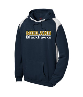 Sport-Tek Navy Pullover Hooded Sweatshirt with Contrast Color Glitter Midland Blackhawks Gold Inside with White Outline