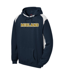 Sport-Tek Navy Pullover Hooded Sweatshirt with Contrast Color Glitter Midland Gold Inside with White Outline