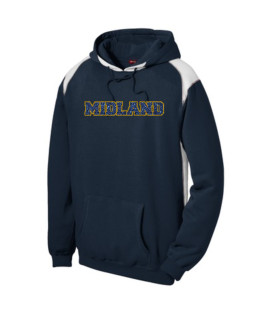 Sport-Tek Navy Pullover Hooded Sweatshirt with Contrast Color Glitter Midland Gold Outside Navy Inside