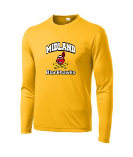 Sport-Tek Gold Long Sleeve PosiCharge Competitor Tee Curved Blackhawk