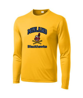 Sport-Tek Gold Long Sleeve PosiCharge Competitor Tee Curved Blackhawk Glitter