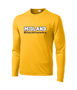 Sport-Tek Gold Long Sleeve PosiCharge Adult_Tall Competitor Tee Midland Blackhawks