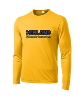 Sport-Tek Gold Long Sleeve PosiCharge Competitor Tee Midland Blackhawks Glitter