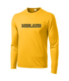 Sport-Tek Gold Long Sleeve PosiCharge Adult_Tall Competitor Tee Midland Glitter