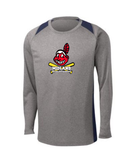 Sport-Tek Grey Long Sleeve Heather Colorblock Contender Tee Giant Blackhawk