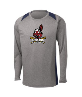 Sport-Tek Grey Long Sleeve Heather Colorblock Contender Tee Giant Blackhawk Glitter