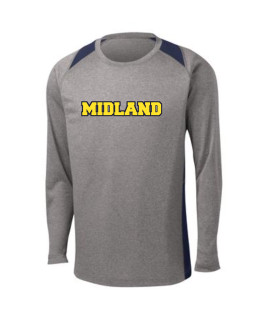 Sport-Tek Grey Long Sleeve Heather Colorblock Contender Tee Midland
