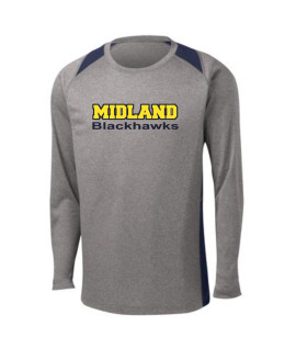 Sport-Tek Grey Long Sleeve Heather Colorblock Contender Tee Midland Blackhawks