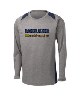 Sport-Tek Grey Long Sleeve Heather Colorblock Contender Tee Midland Blackhawks Glitter