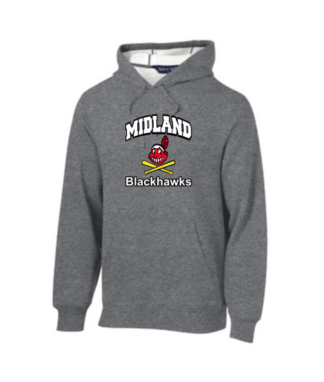 Sport-Tek Grey Pullover Hooded Sweatshirt Color Curved Blackhawk with White Letters