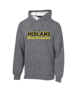 Sport-Tek Grey Pullover Hooded Sweatshirt Color Midland Blackhawks Gold Outline Navy Inside