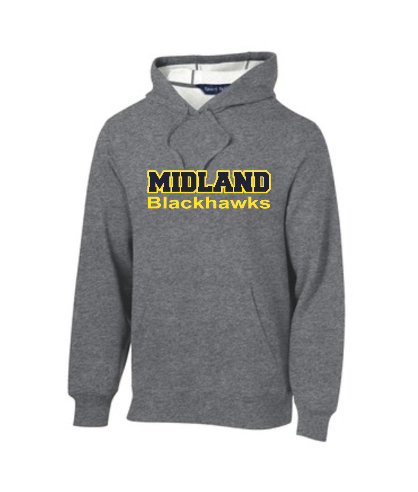 Sport-Tek Grey Pullover Hooded Sweatshirt Color Midland Blackhawks Gold Outline Navy Inside