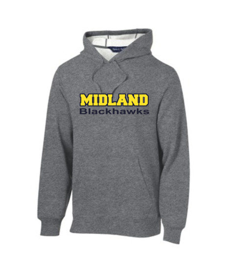 Sport-Tek Grey Pullover Hooded Sweatshirt Color Midland Blackhawks Navy Outline Gold Inside