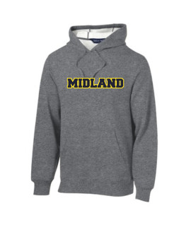 Sport-Tek Grey Pullover Hooded Sweatshirt Color Midland Gold Outline Navy Inside