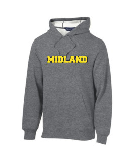 Sport-Tek Grey Pullover Hooded Sweatshirt Color Midland Navy Outline Gold Inside