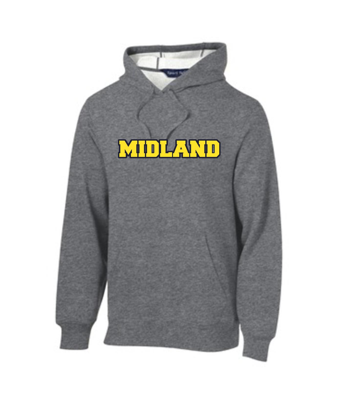 Sport-Tek Grey Pullover Hooded Sweatshirt Color Midland Navy Outline Gold Inside