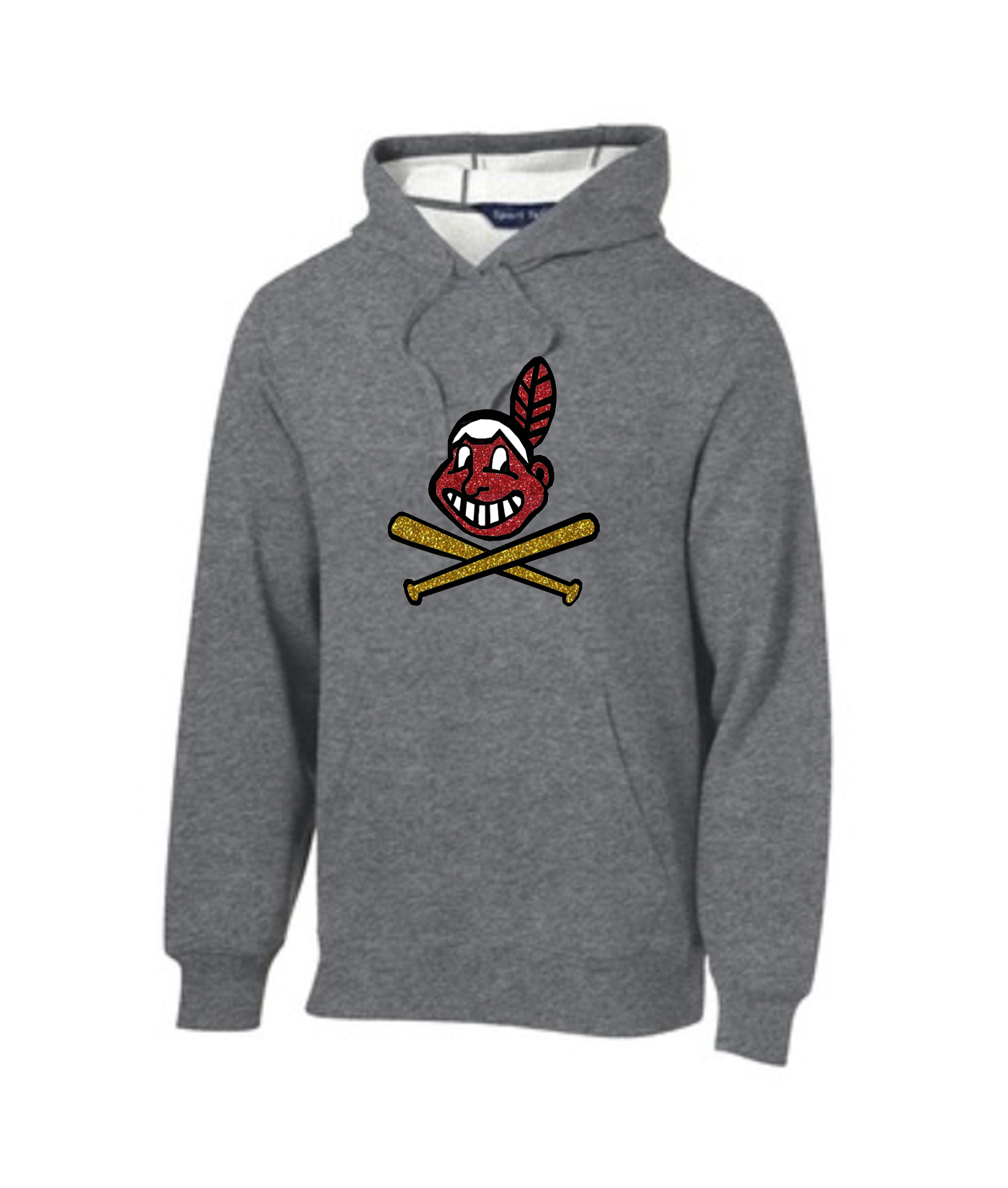 Sport-Tek Grey Pullover Hooded Sweatshirt Glitter Blackhawk