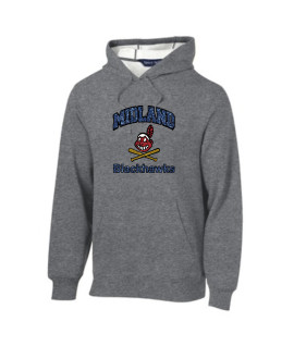 Sport-Tek Grey Pullover Hooded Sweatshirt Glitter Curved Blackhawk with Blue Glitter