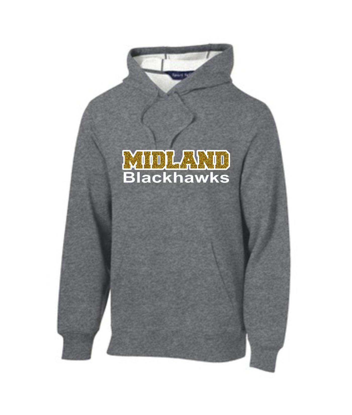 Sport-Tek Grey Pullover Hooded Sweatshirt Glitter Midland Blackhawks Gold Inside White Outline