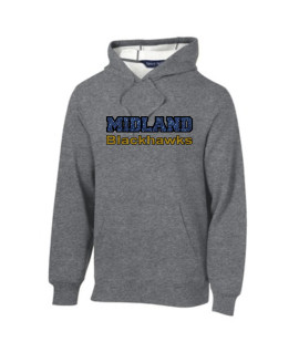 Sport-Tek Grey Pullover Hooded Sweatshirt Glitter Midland Blackhawks Gold and Navy with Black Outline