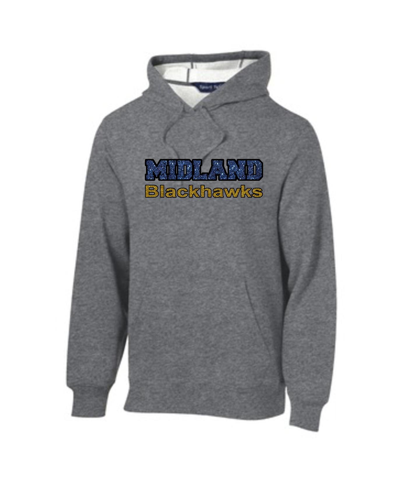 Sport-Tek Grey Pullover Hooded Sweatshirt Glitter Midland Blackhawks Gold and Navy with Black Outline