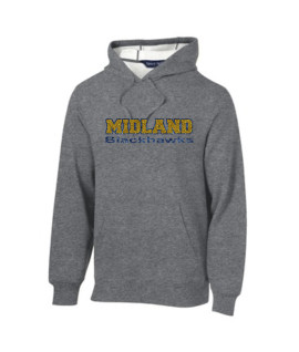 Sport-Tek Grey Hooded Sweatshirt Glitter Midland Blackhawks Navy Outline Gold Inside