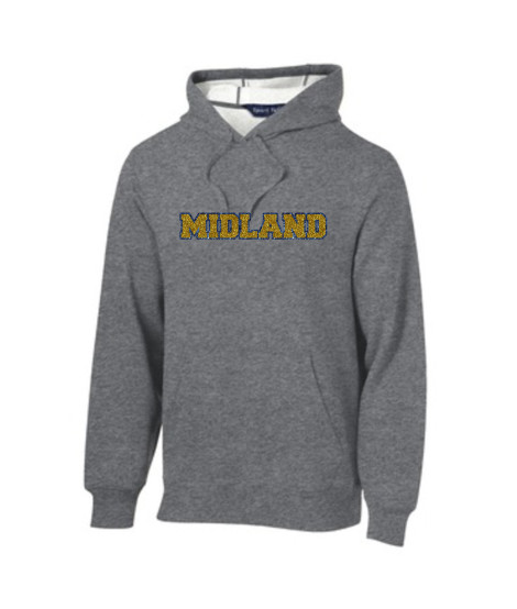 Sport-Tek Grey Hooded Sweatshirt Glitter Midland Navy Outline Gold Inside