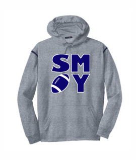Sport Tek Football Block Grey Hoodie