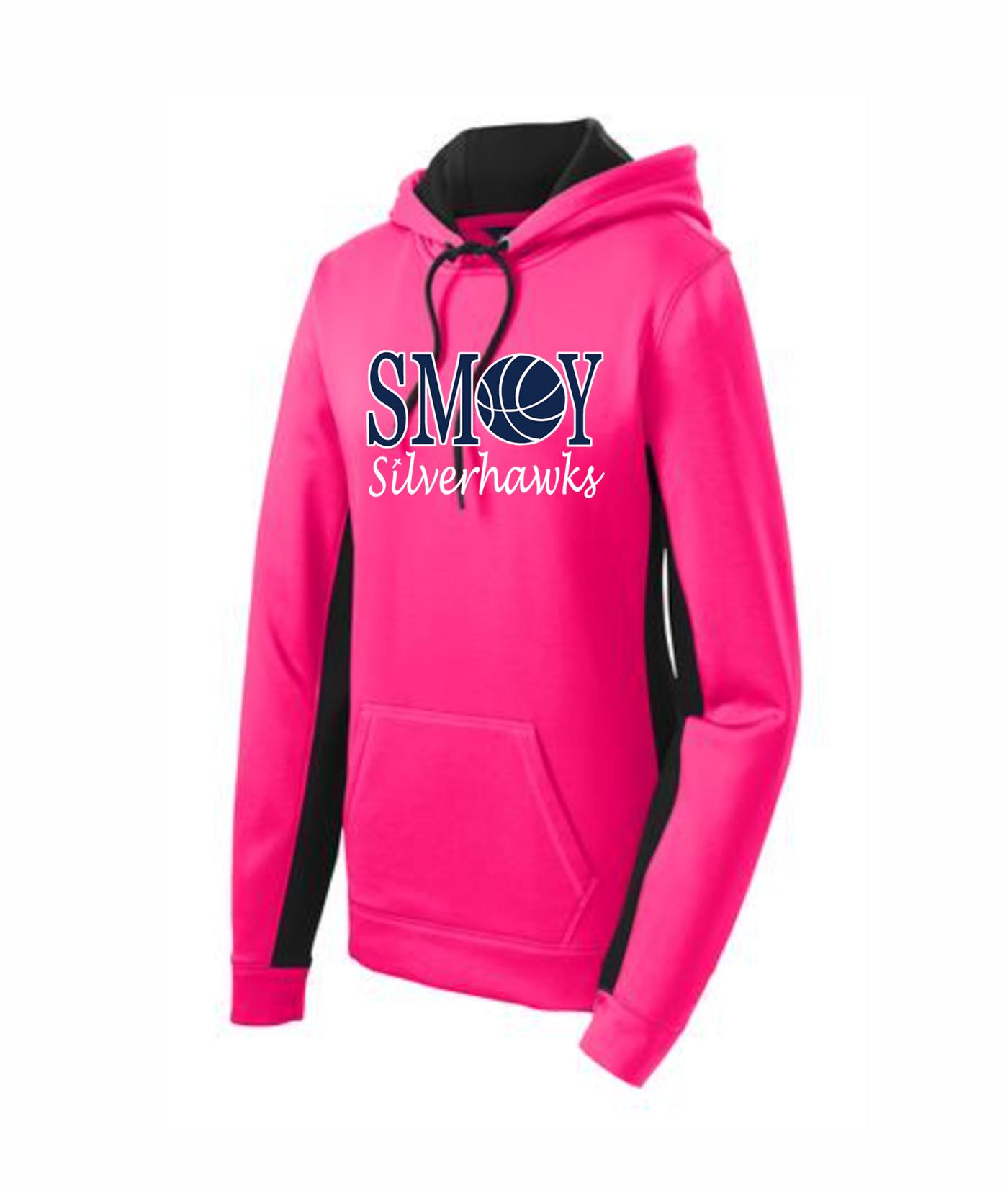 Sport Tek Ladies Basketball O Pink Colorblock Hoodie