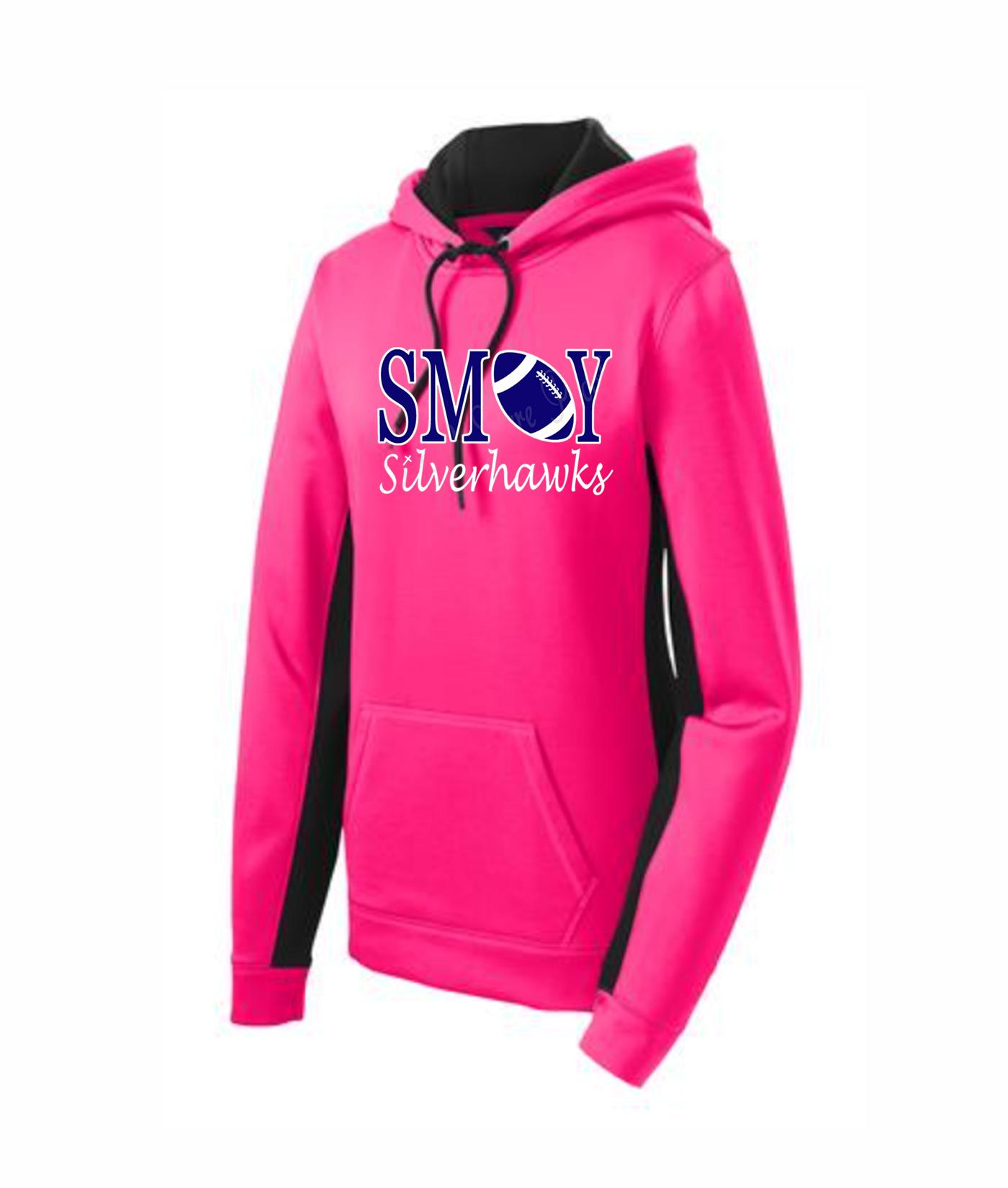 Sport Tek Ladies Football O Pink Colorblock Hoodie