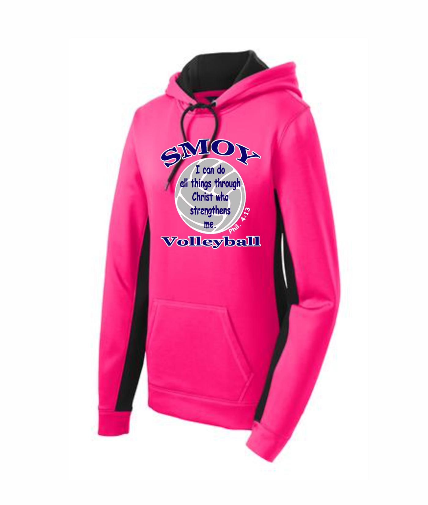 Sport Tek Ladies Volleyball Bible Verse Pink Colorblock Hoodie