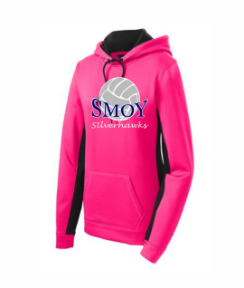 Sport Tek Ladies Large Volleyball Pink Colorblock Hoodie