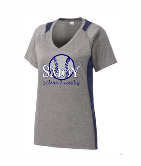 SMOY Ladies Large Baseball Athletic Grey Tee