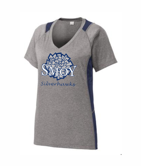 SMOY Ladies Large Cheer Athletic Grey Tee