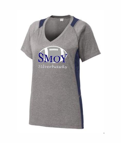 SMOY Ladies Large Football Athletic Grey Tee