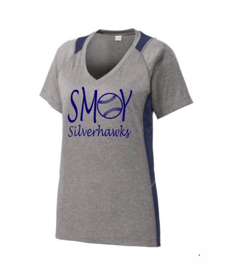 SMOY Ladies Baseball O Lucida Athletic Grey Tee